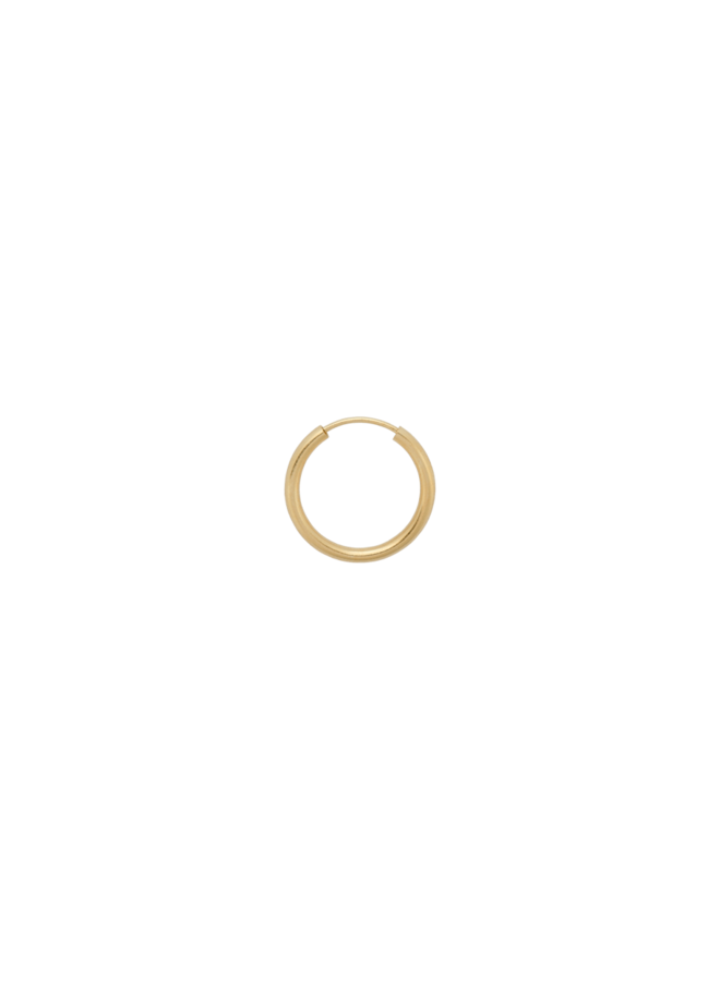 Oorbel single thick plain ring earring L goldplated goud