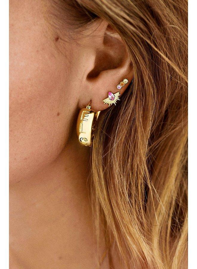 Oorbel single freedom stud earring goldplated goud