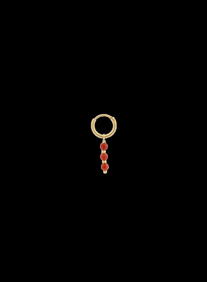 Oorbel single coral ring earring goldplated goud