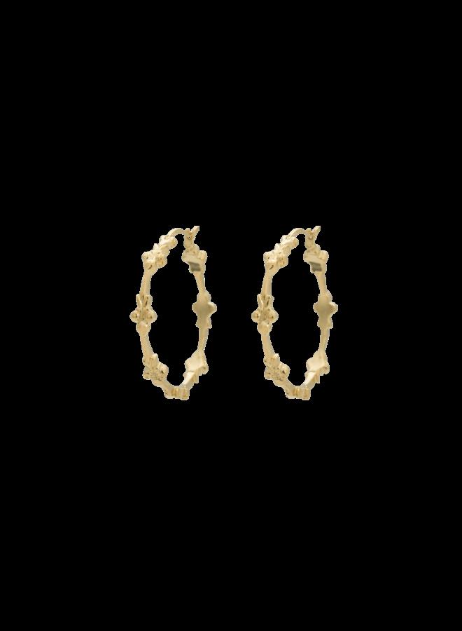 Oorbellen eden hoop earring brass goldplated goud