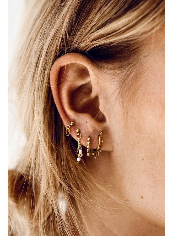 Oorbellen cosmic dust chain earring goldplated goud