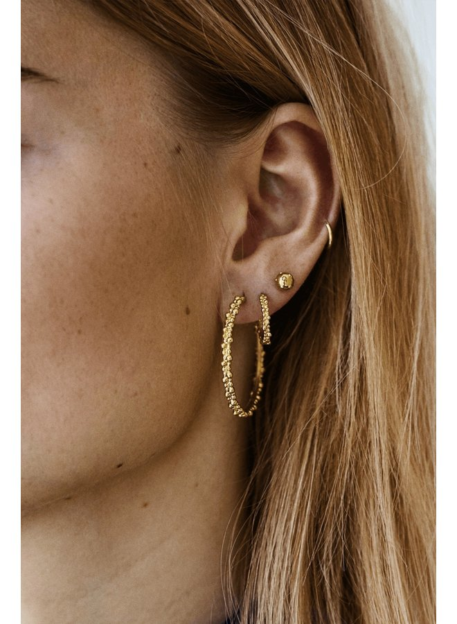 Oorbellen cluster hoop earrings brass goldplated