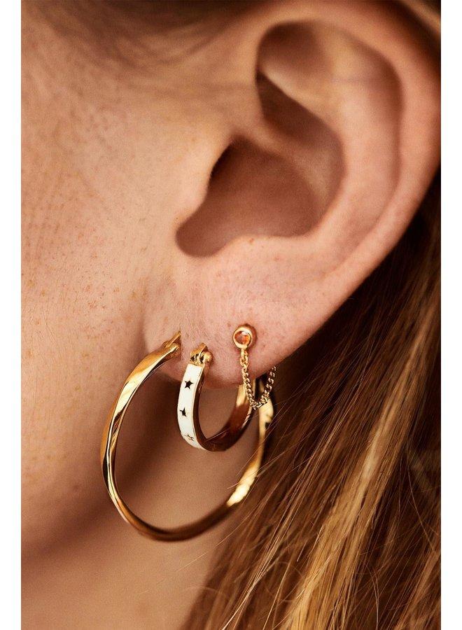 Oorbellen dazzling hoop earrings brass goldplated goud