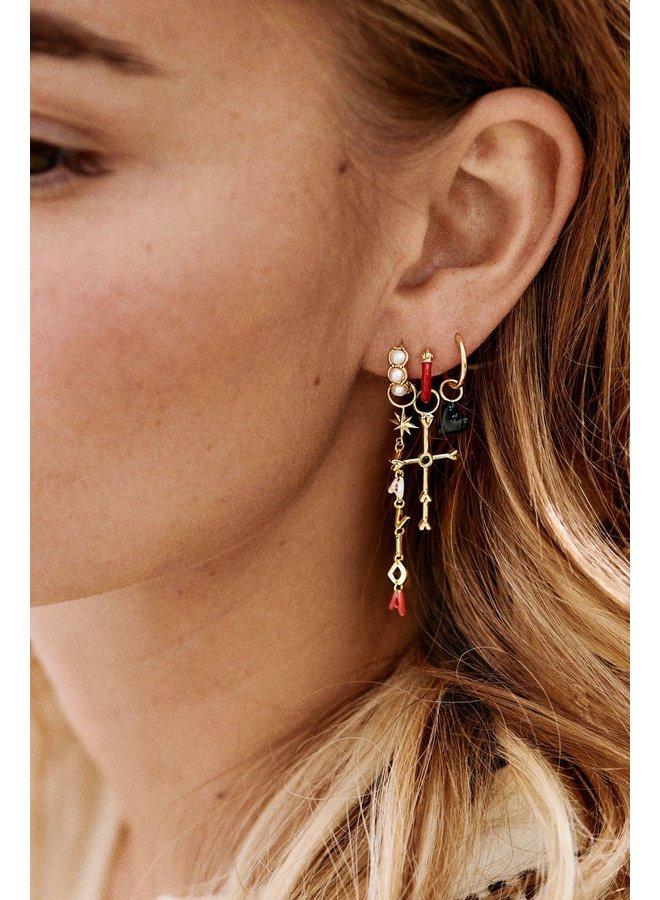 Oorbel single la muerta heart ring earring goldplated zwart