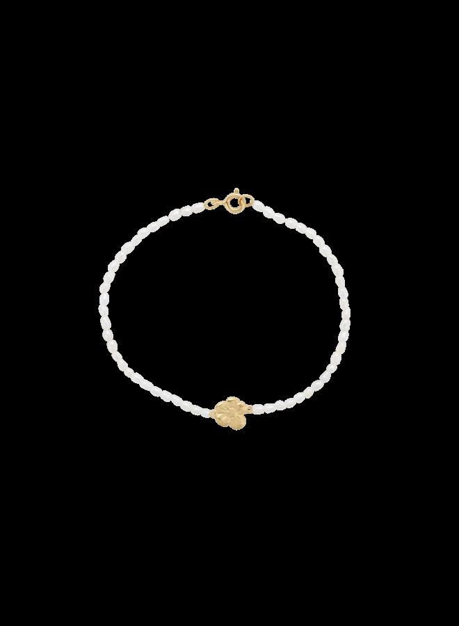 Armband soul flower pearl bracelet goldplated wit