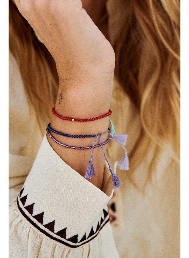 Armband georgia thread bracelet coral goldplated rood
