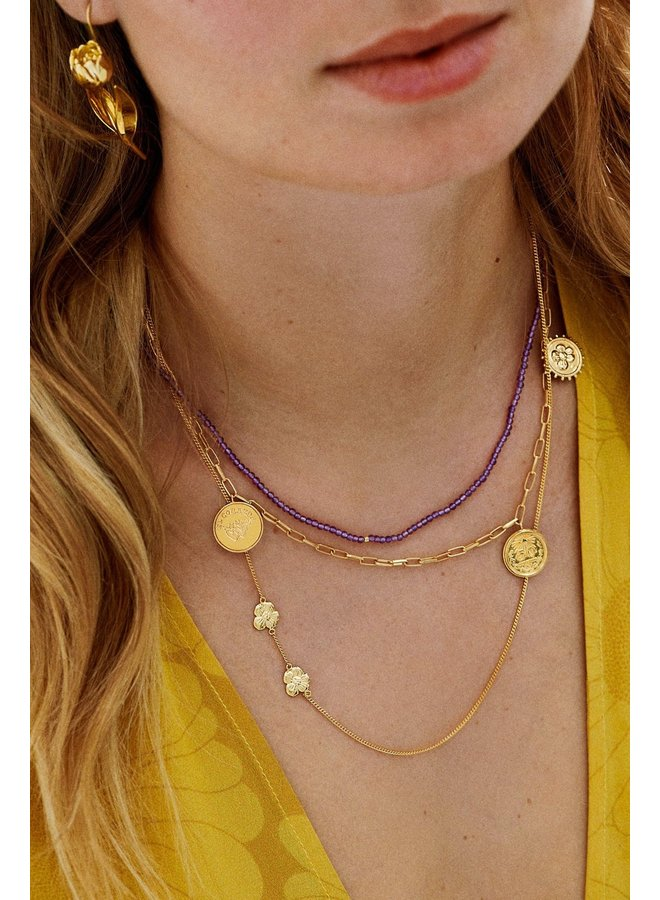 Ketting two soul flowers necklace goldplated goud