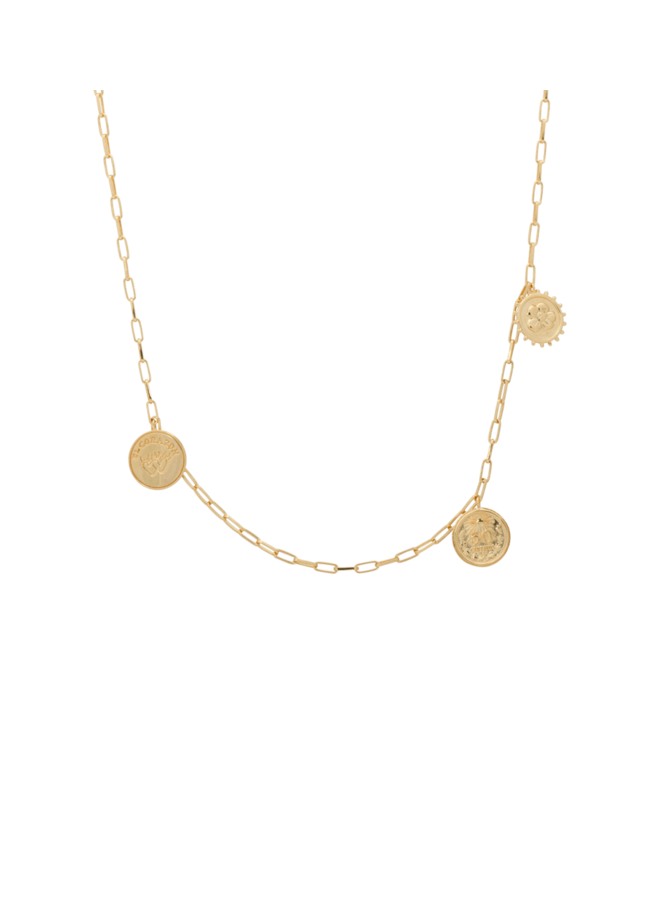 Ketting peso mexicano necklace goldplated goud