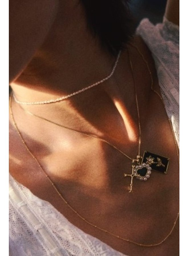 Ketting bamboo plain necklace XL goldplated goud