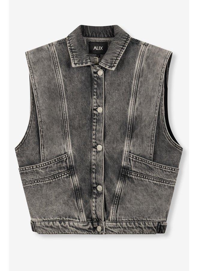 Gilet Ladies woven embroidered denim waistcoat charcoal grey