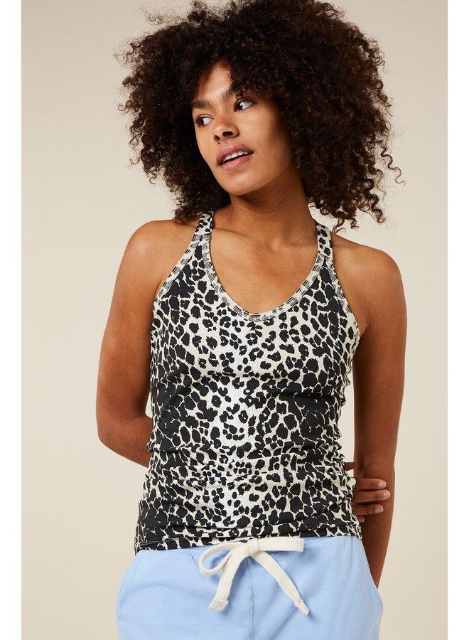 Hemdje Leopard wrapper ecru