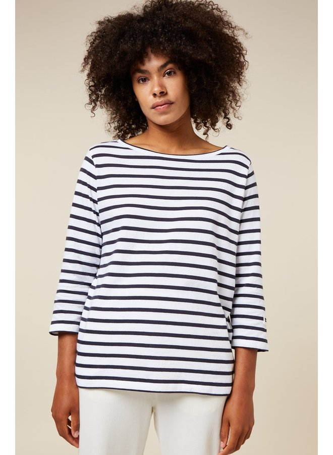 Top Longsleeve tee stripe white/dark grey blue