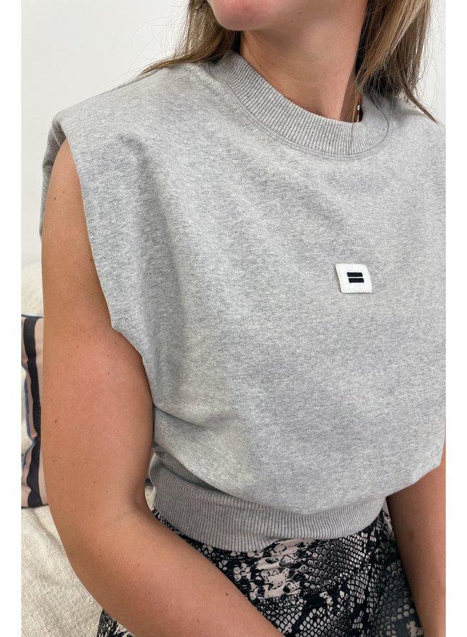 Top Padded sleeveless light grey melee