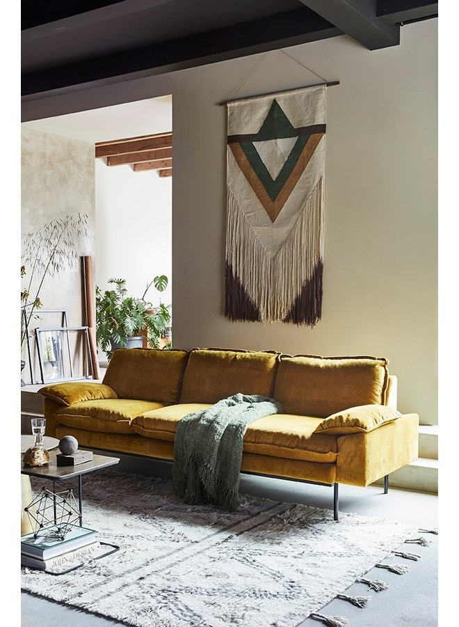 Bank retro sofa: 3-seats, vintage velvet, ochre