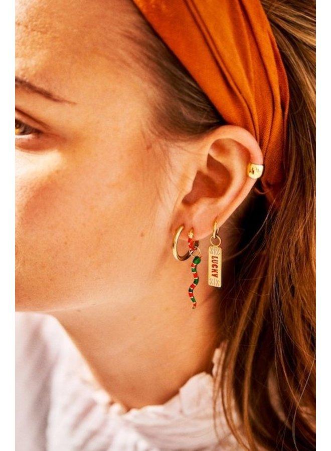 Bedel Desert Snake Earring Charm goud/groen/rood