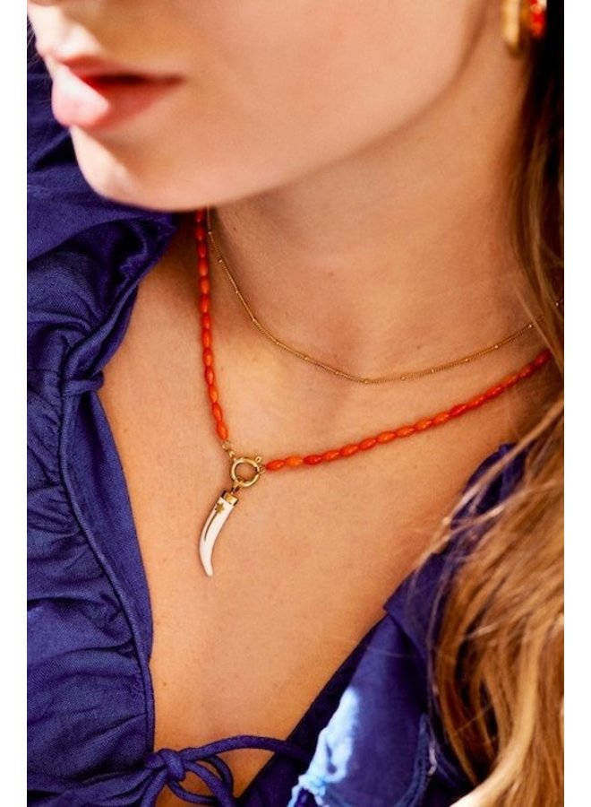 Ketting Yee Haw Coral Necklace rood/goud