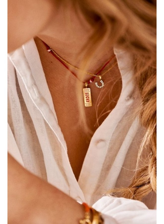 Ketting Lasso Pearl Necklace rood