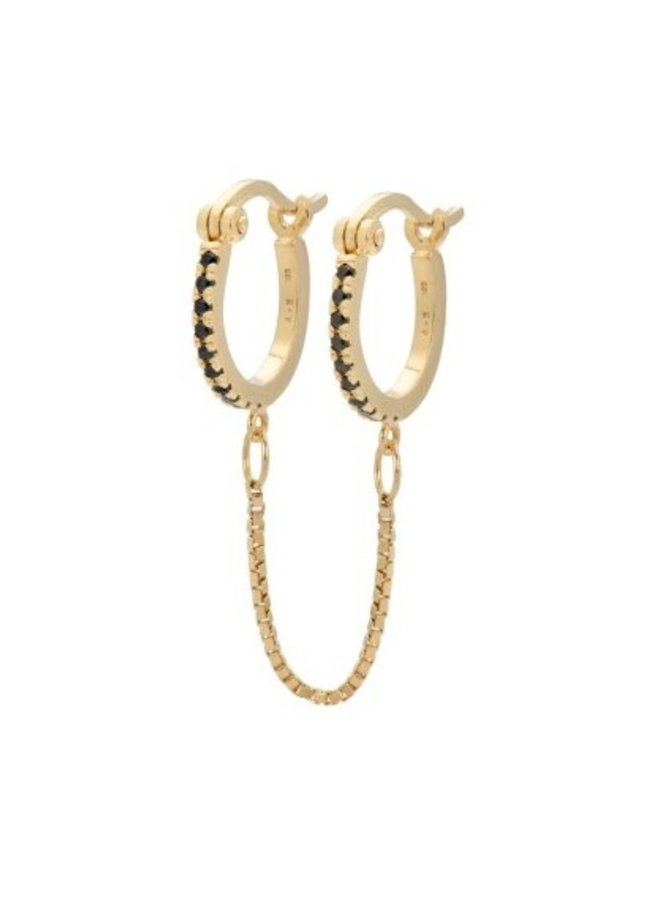 Oorbel double trouble chain ring earring goldplated goud