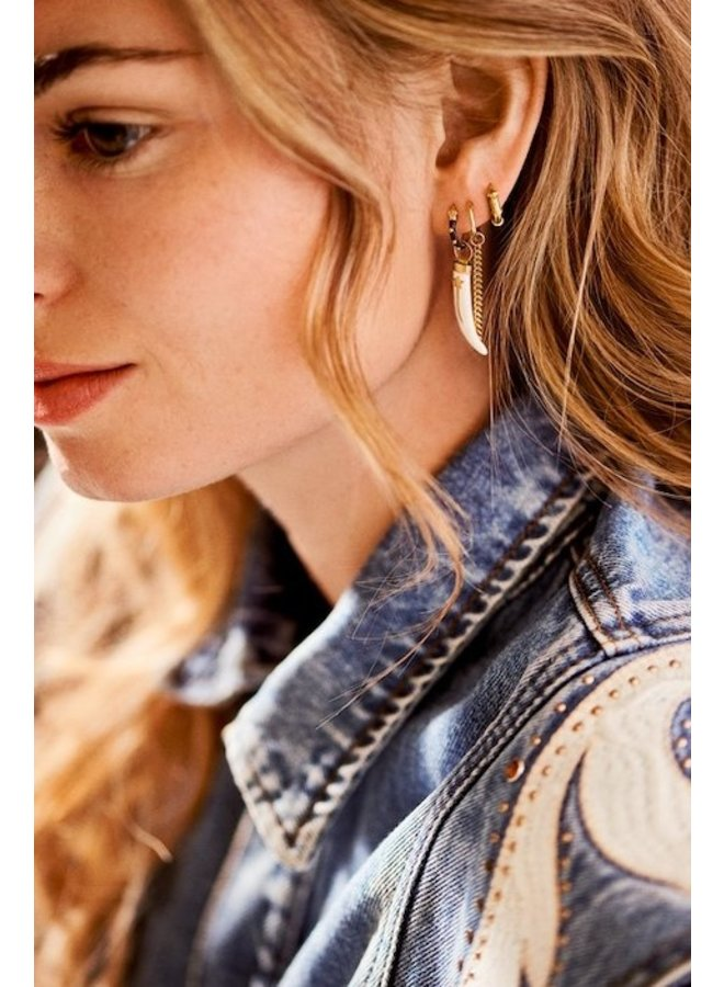 Oorbel single chunky chain ring earring goldplated goud