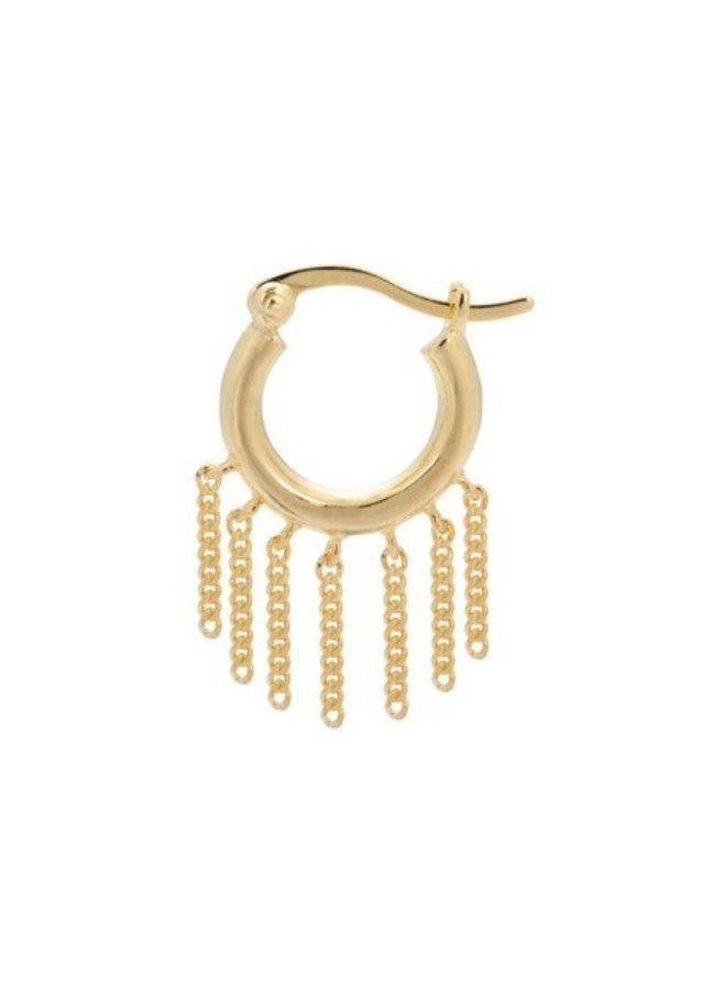 Oorbel single multi chain ring earring goldplated goud