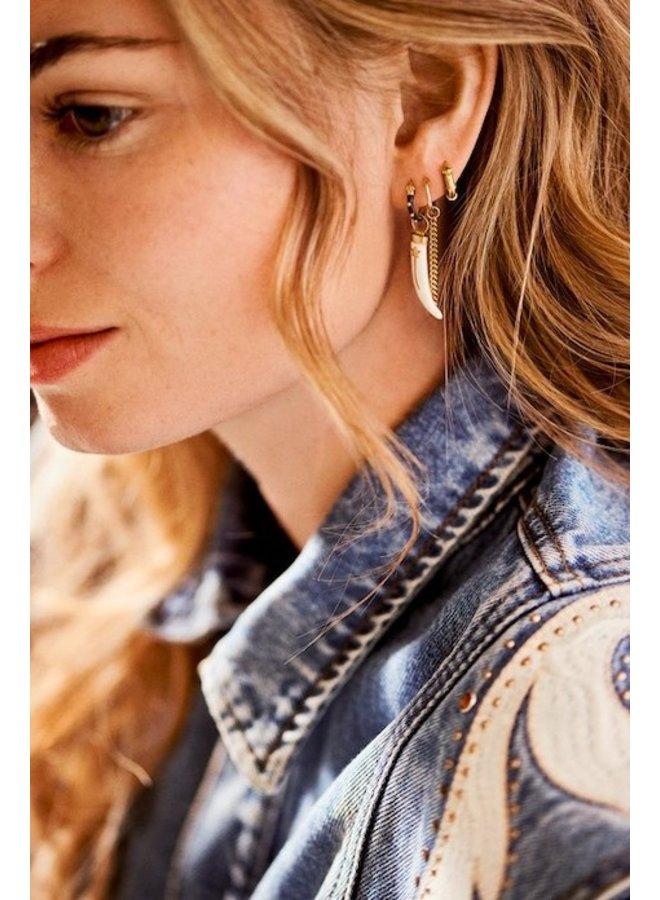 Oorbel single dolly ring earring brown goldplated bruin