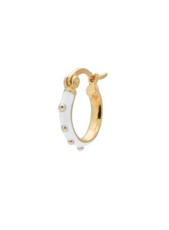 Oorbel single dolly ring earring white goldplated wit