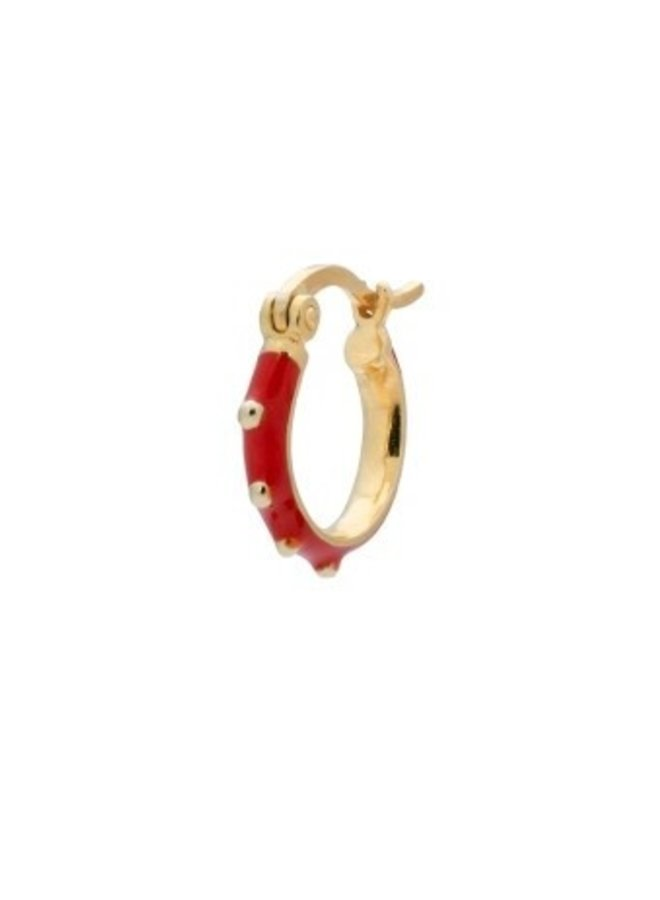 Oorbel single dolly ring earring red goldplated rood
