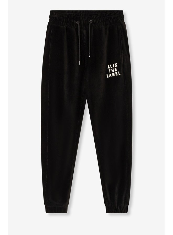 Broek Ladies knitted rib velvet pants black