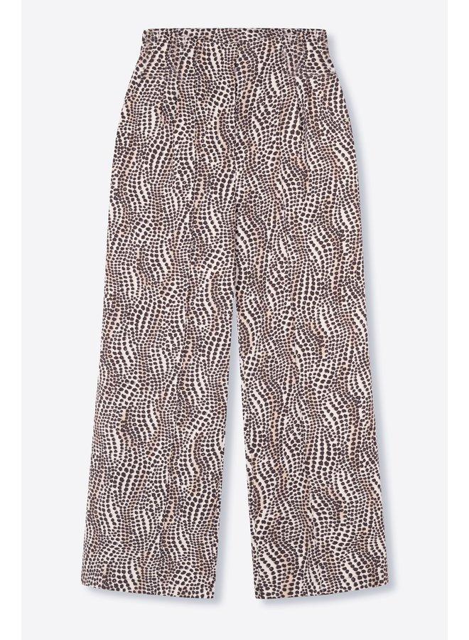 Broek Ladies woven dots animal wide leg pants animal