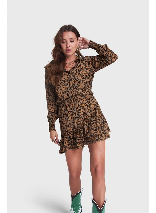 Rok Ladies woven tiger head skirt warm camel