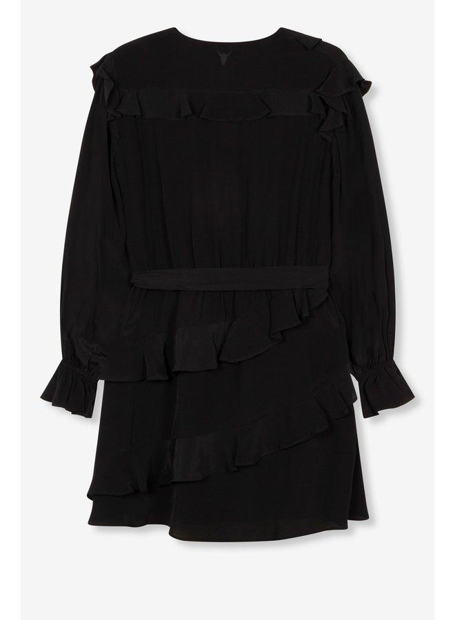 Jurk Ladies woven shiny crepe short dress black