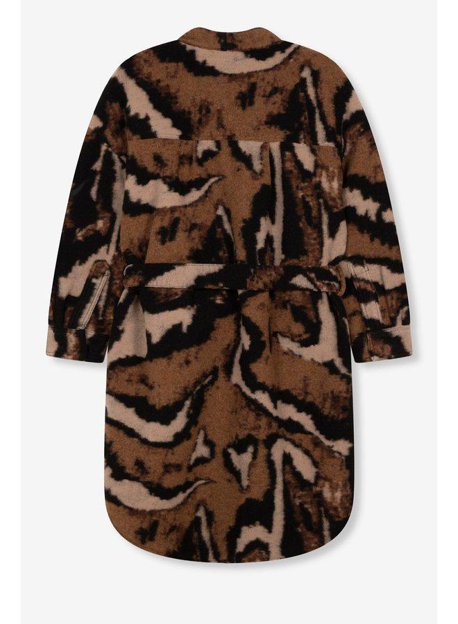 Jas Ladies woven animal felted wool jacket deep brown