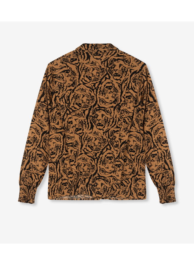 Blouse Ladies woven tiger head blouse warm camel