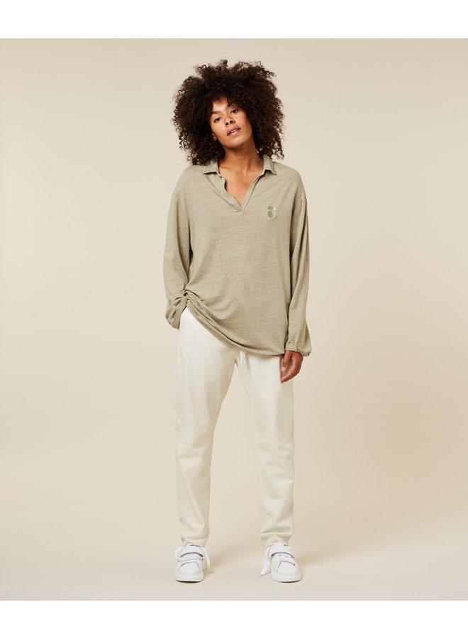 Top Polo shirt linen khaki