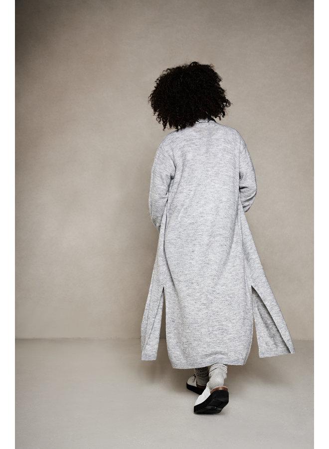 Vest Long knitted cardigan light grey melee