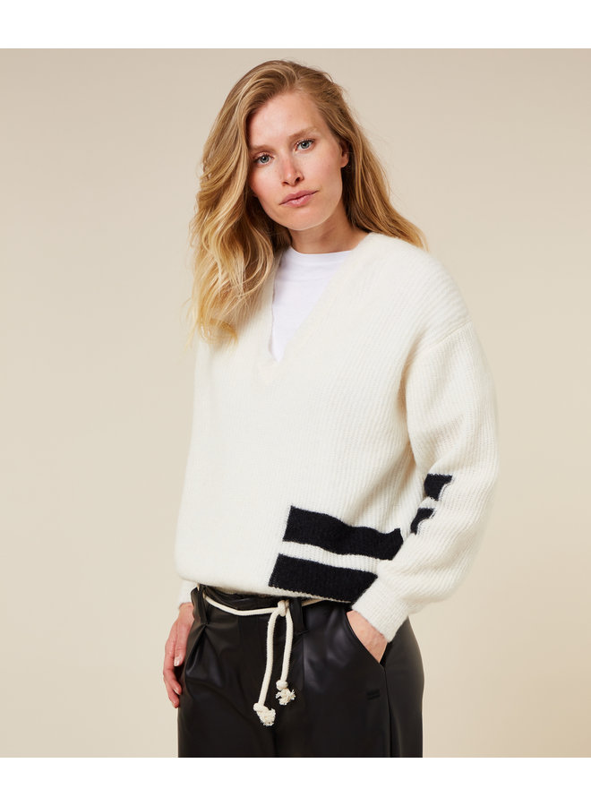 Trui The knit sweater soft white melee