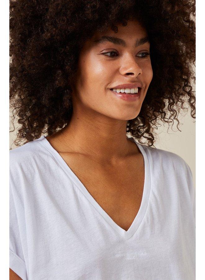 Top V-neck tee cotton white