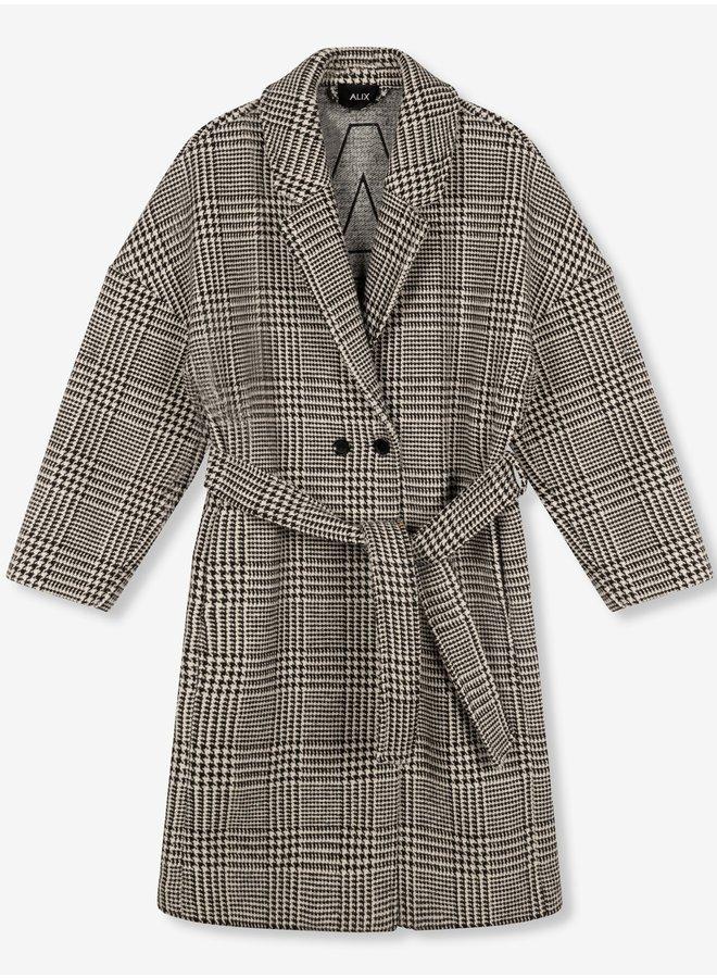 Jas Ladies woven check jacquard coat black/white