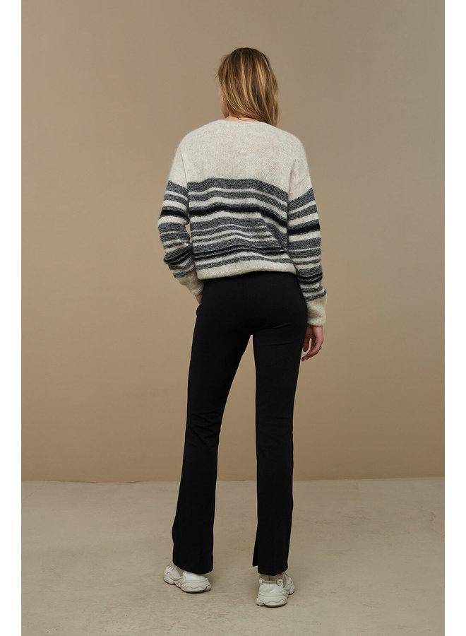 Trui Liz stripe pullover jet black