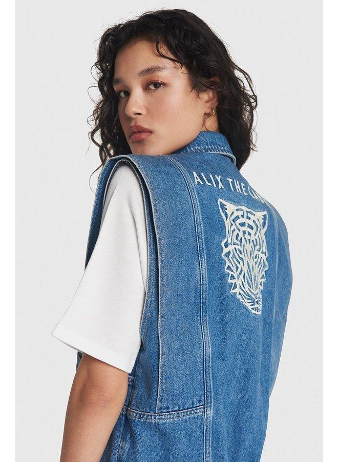 Gilet Ladies woven embroidered denim waistcoat denim blue