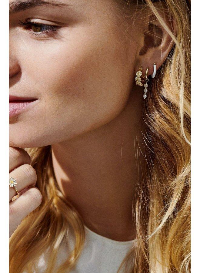 Oorbel single pearly ring earring goldplated goud