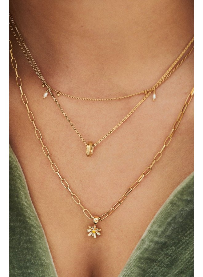Bedel Daisy necklace charm goud/wit