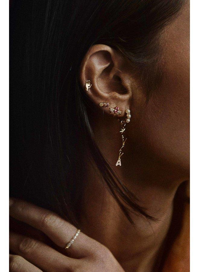 Oorbel single blessed hand stud earring goldplated goud