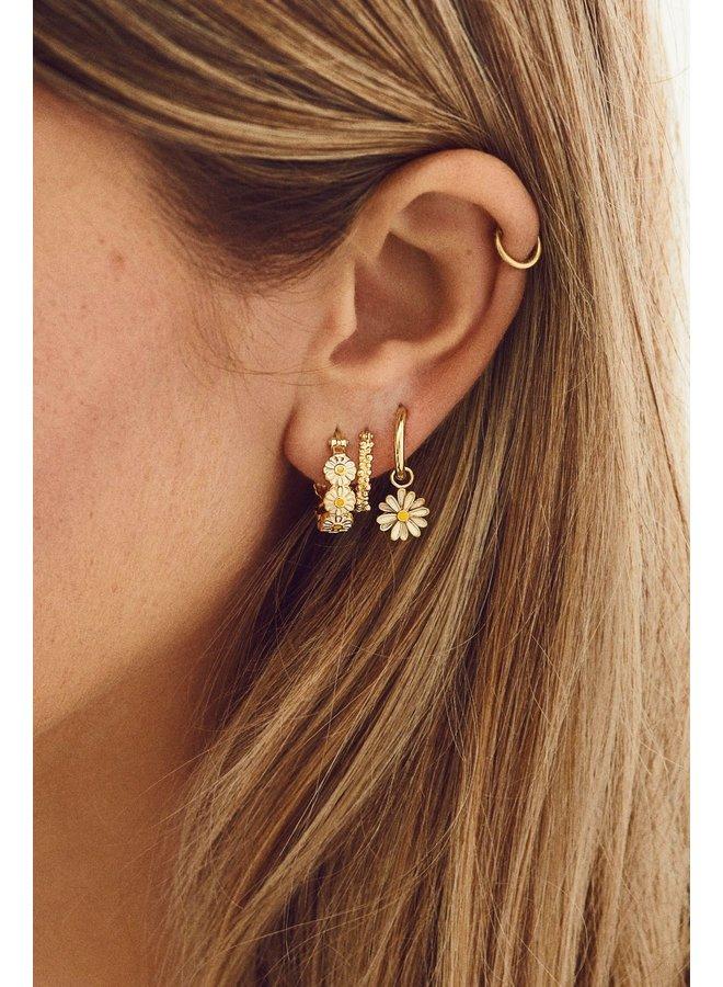 Oorbellen cluster ring earrings small goldplated