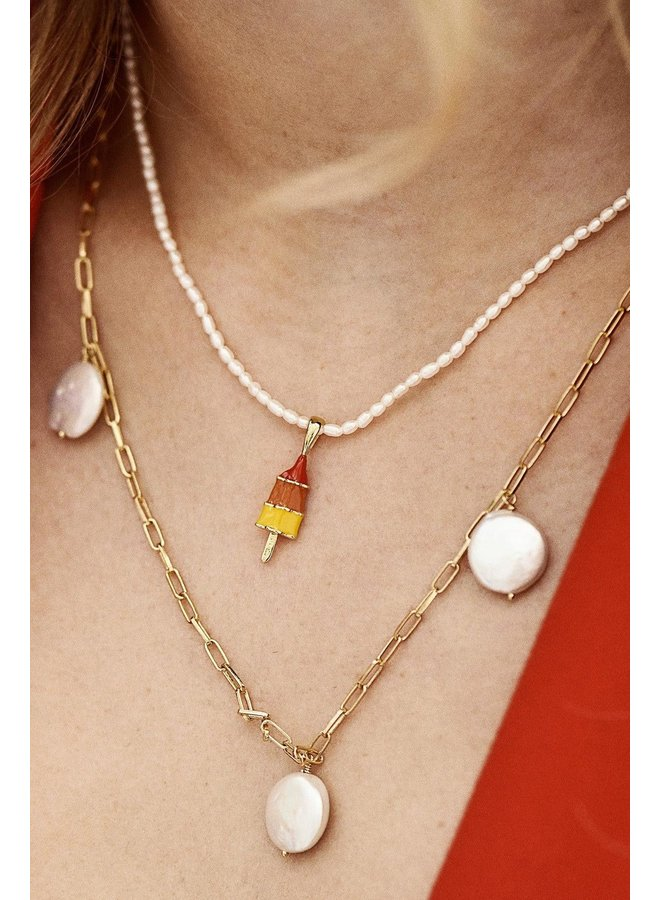 Ketting Pearl necklace goldplated goud