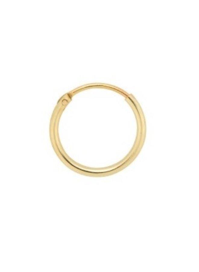 Oorbel Single plain ring earring (S) goldplated goud