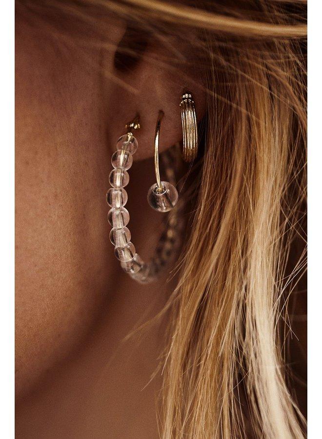 Oorbellen pyramid ring earrings goldplated goud