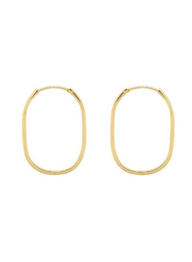 Oorbellen Link hoop earring goldplated goud