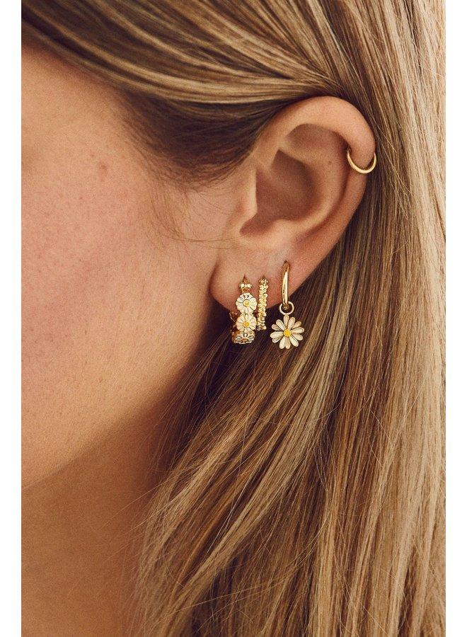 Oorbellen daisy coloured ring earrings goldplated goud