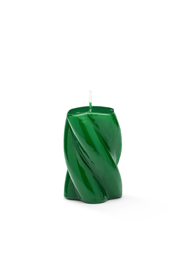 Kaars Blunt twisted candle short dark green